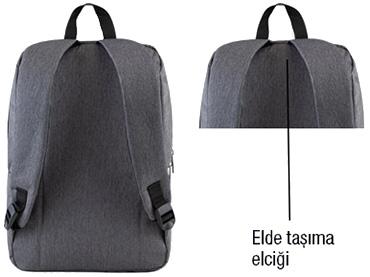 Classone Modena Serisi PR-R304S 15.6 Sırt Notebook Çantası-Gri-Siyah Astar
