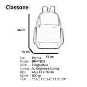 Classone BP-IT801 Parma Serisi 15.6'' Sırt Çantası-İ.Mavi