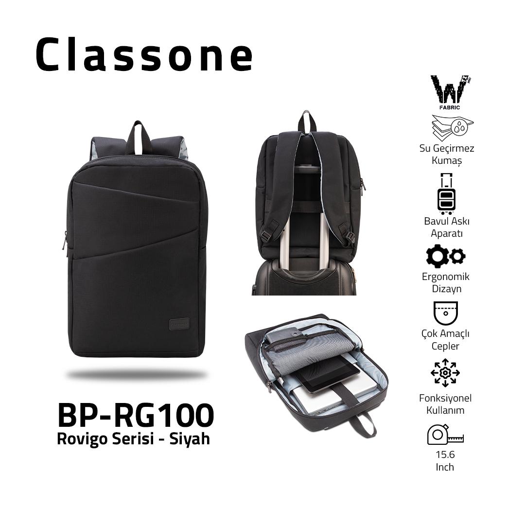Classone Rovigo Serisi, BP-RG100 WTXpro Su geçirmez Kumaş ,15.6 Sırt Notebook Çantası-Siyah