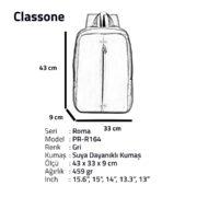 Classone PR-R164 Roma Large Serisi Notebook 15,6 inch Sırt Çantası / Gri