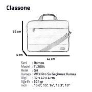 Classone Romeo Medium Serisi TL2404 13-14 inch uyumlu Laptop Çantası -Gri