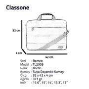 Classone Romeo Large Serisi TL2005 15.6 inch Uyumlu Notebook Çantası – Bordo
