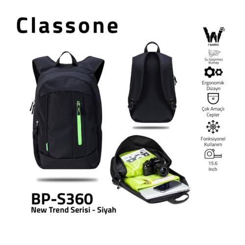 Classone BP-S360 New Trend Laptop Rucksack - Schwarz