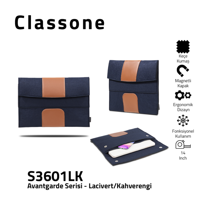 Classone S3601LK Avantgarde 13-14 inch Laptop Case - Navy-Brown