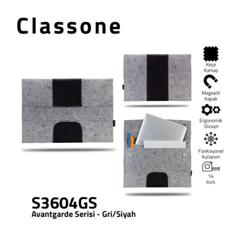 Classone Avantgarde S3604GS 13-14 inch Laptop Hüllen - Grau-Schwarz