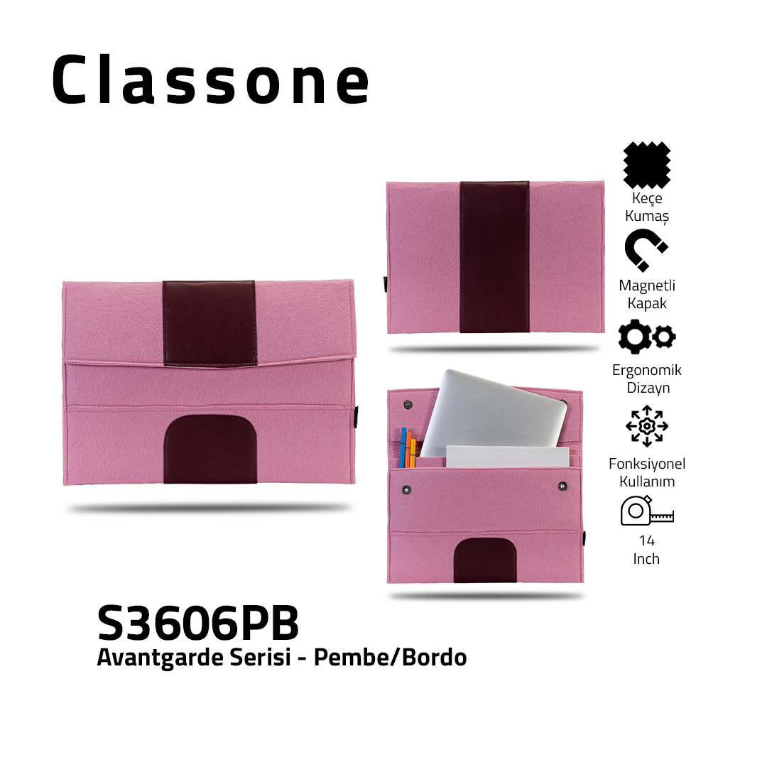 Classone Avantgarde S3606PB 13-14 inch Laptop Hüllen - Rosa-Kastanienbraun