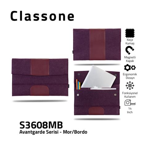 Classone Avantgarde S3608MB 13-14 inch Laptop Hüllen - Lila-Kastanienbraun