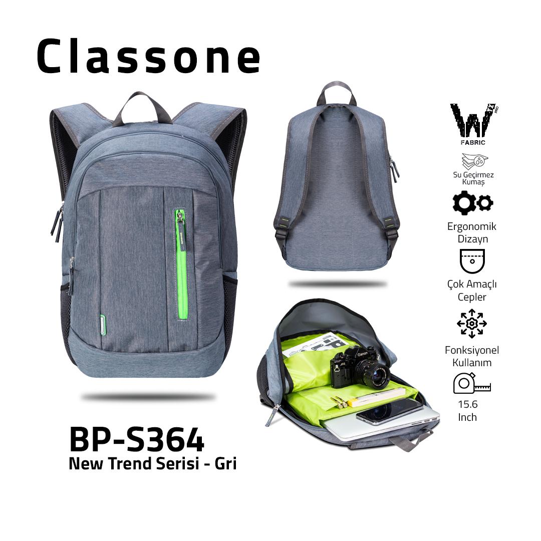 Classone BP-S364 New Trend Sport Style Serisi Sırt 15,6 inch Çantası - Gri