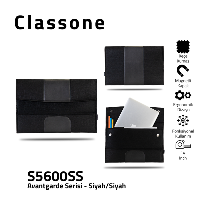 Classone Avantgarde S5600SS 15,6 inch Laptop Hüllen - Schwarz-Schwarz