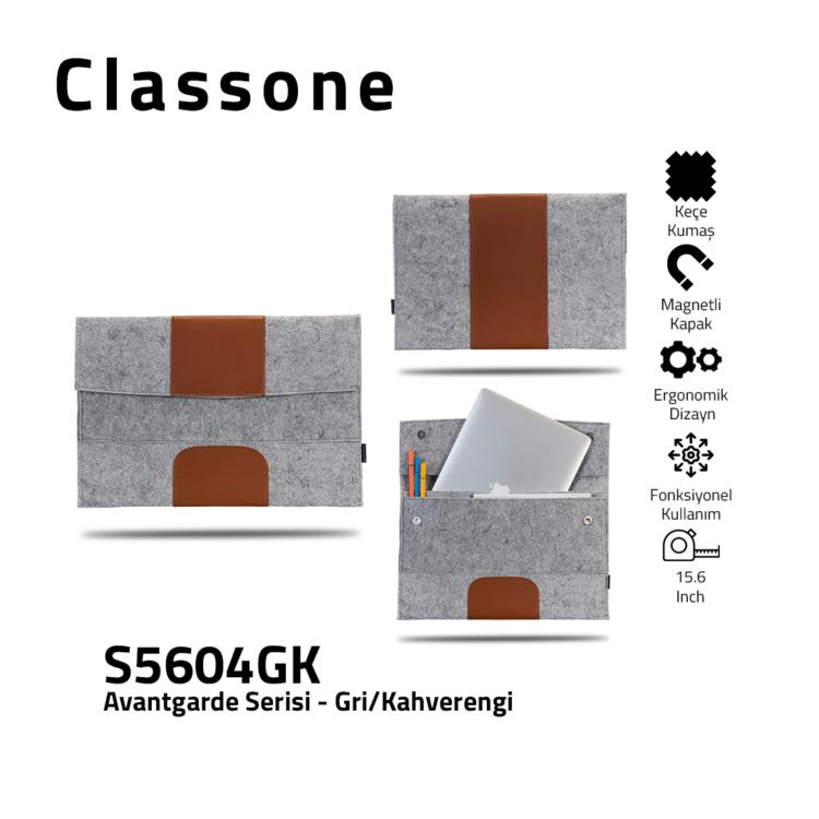 Classone Avantgarde S5604GK 15,6 inch Laptop Hüllen - Grau-Braun
