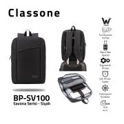 Classone Savona Serisi, BP-SV100 WTXpro Su geçirmez Kumaş ,15.6 Sırt Notebook Çantası-Siyah