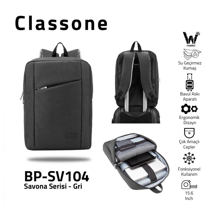 Classone Savona Serisi, BP-SV104 WTXpro Su geçirmez Kumaş ,15.6 Sırt Notebook Çantası-Gri