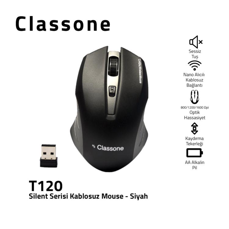 Classone T120 Silent Serisi 2.4 GHz 800/1200/1600 DPI Nano Alıcılı Kablosuz Mouse Siyah