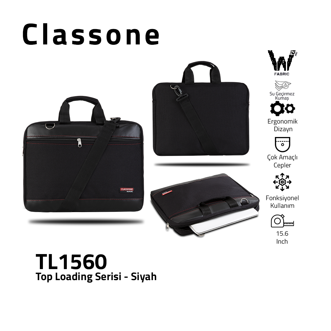 Classone TL1560 Top Loading Serisi 15,6 inch El Çantası - Siyah