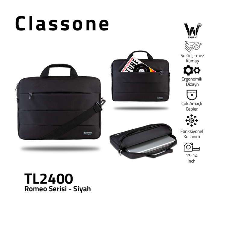 Classone Romeo Medium Series TL2400 13-14 Zoll Laptoptasche - Schwarz