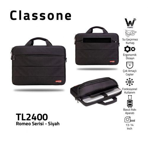 Classone Romeo Medium Serisi TL2400 13-14 inch uyumlu Laptop Çantası-Siyah