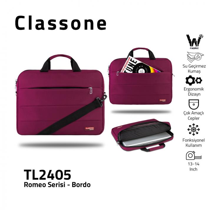 Classone Romeo Medium Serisi TL2405 13-14 inch uyumlu Laptop Çantası-Bordo