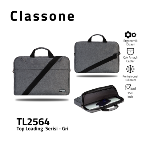 Top Eintrag Groß-Serie Laptoptasche / Grau