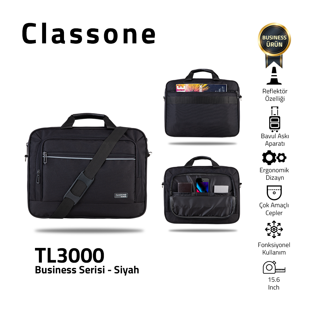 Classone Business Large Series TL3000 15.6 inch Compatible Notebook Bag - Black
