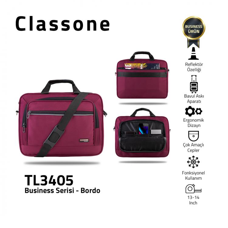 Classone Business Medium Serisi TL3405 13-14 inch uyumlu Laptop Çantası -Bordo