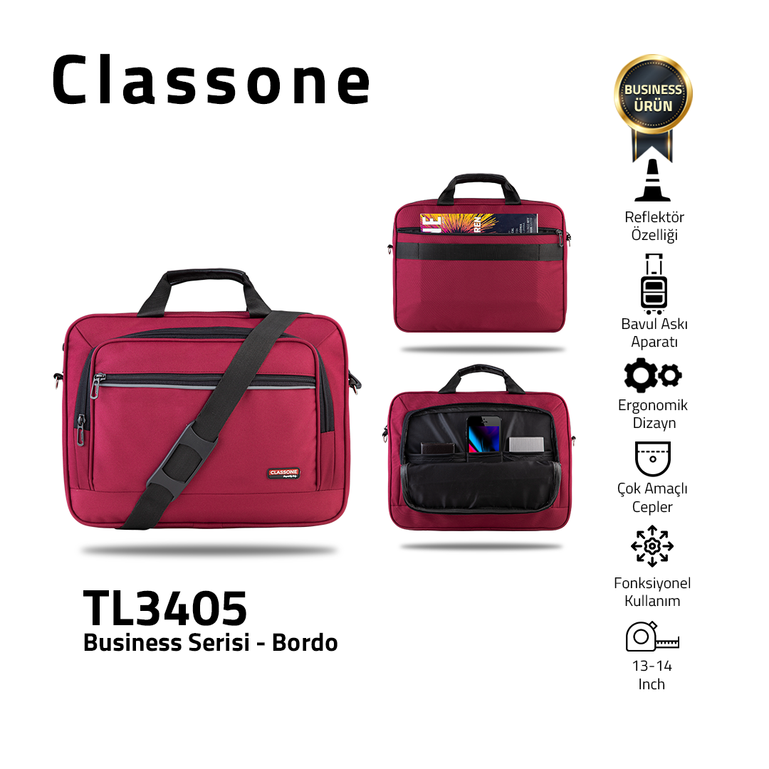 Classone Business Medium Serie 13-14 Zoll kompatible Laptoptasche - Weinrot