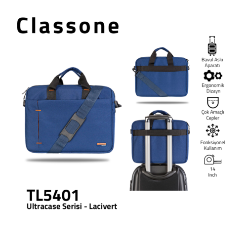 Classone TL5401 Ultracase 13-14 Zoll Laptoptasche - Marineblau