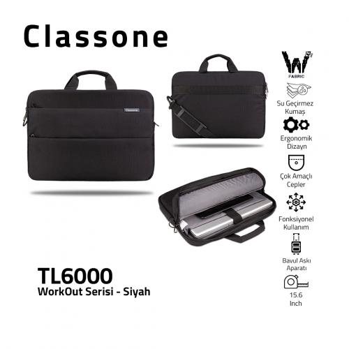 Classone WorkOut Serisi TL6000 15.6 inch Laptop , Notebook Çantası -Siyah