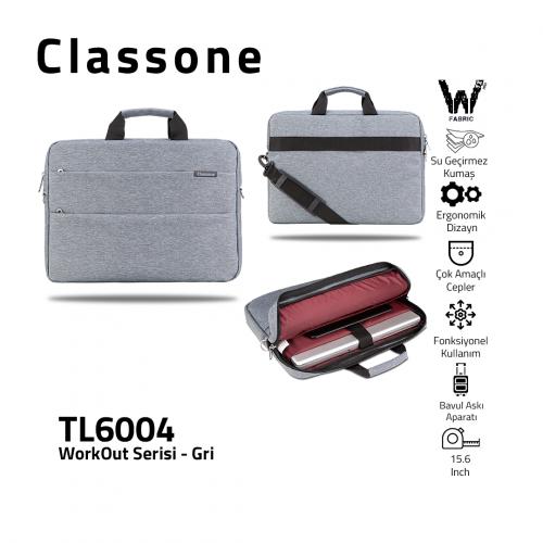 Classone WorkOut Serisi TL6004 15.6 inch Laptop , Notebook Çantası -Gri