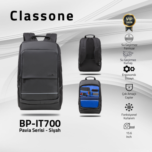 "Classone BP-IT700 Pavia 15.6"" Laptop, Notebook Sırt Çantası-Siyah"