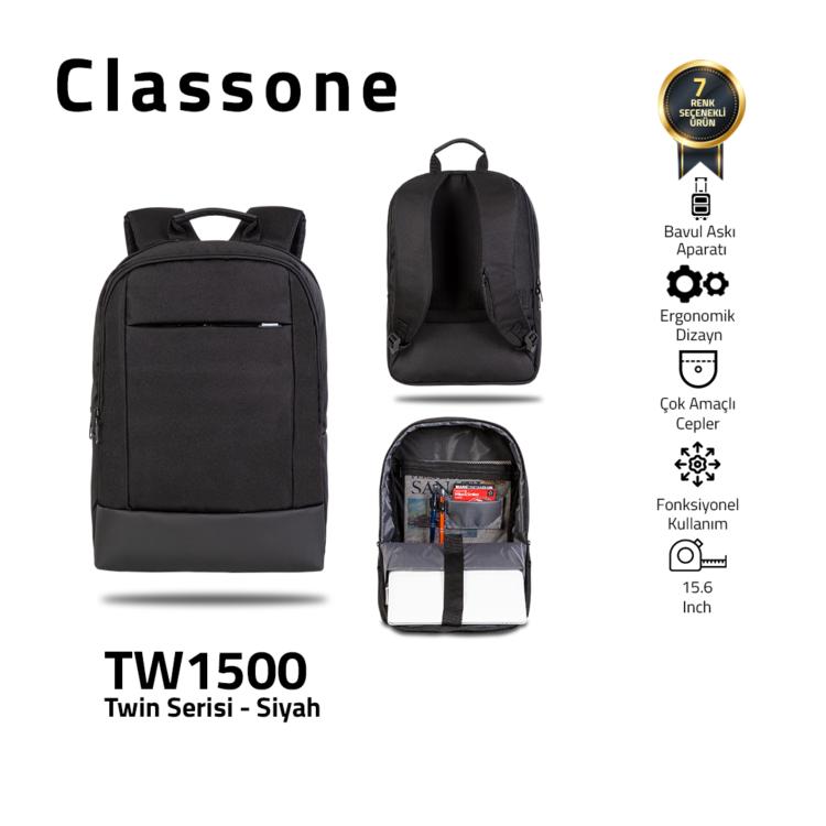 Classone TW1500 Zwillingsfarbe 15,6 Zoll Laptoptasche - Schwarz
