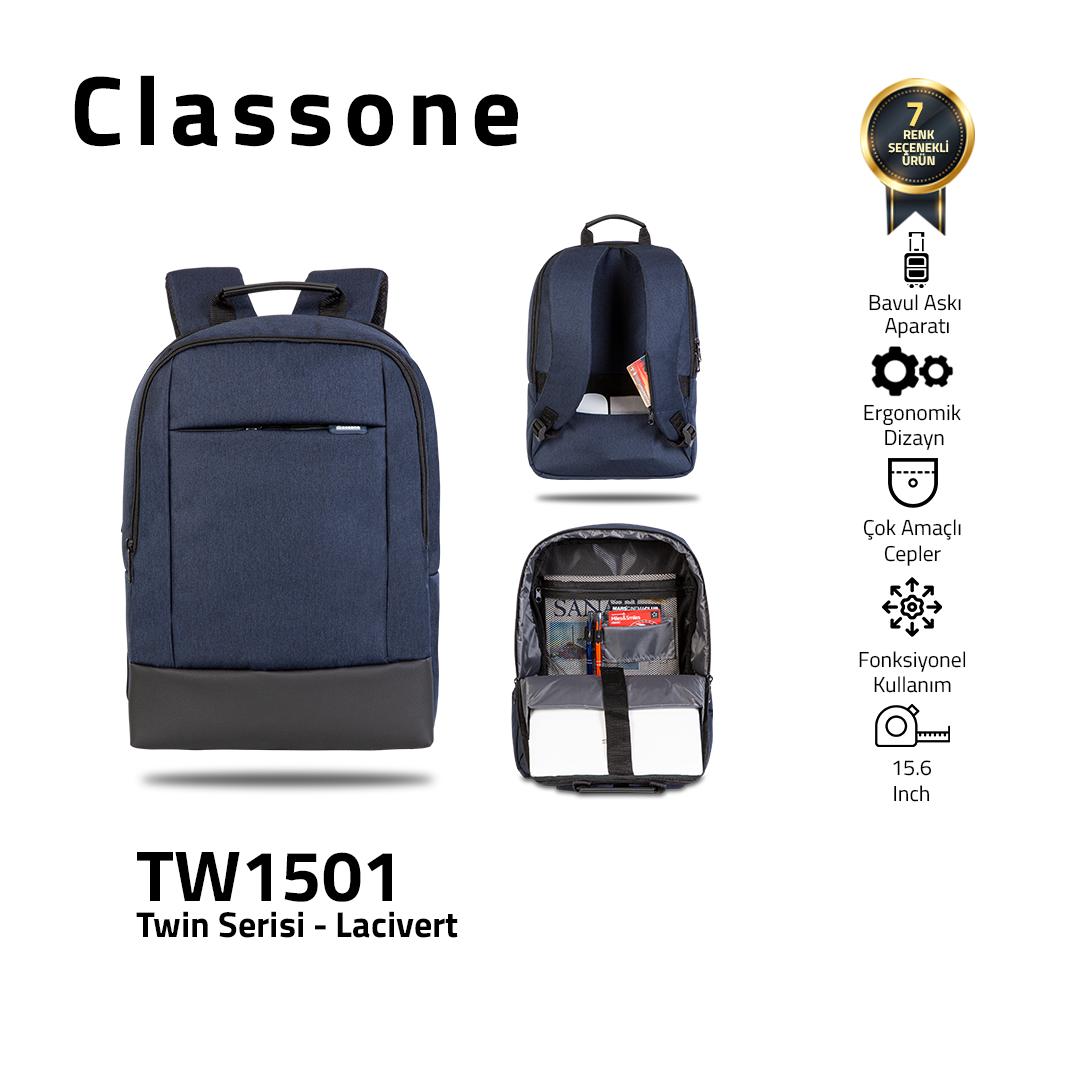 Classone TW1501 Zwillingsfarbe 15,6 Zoll Laptoptasche - Blau