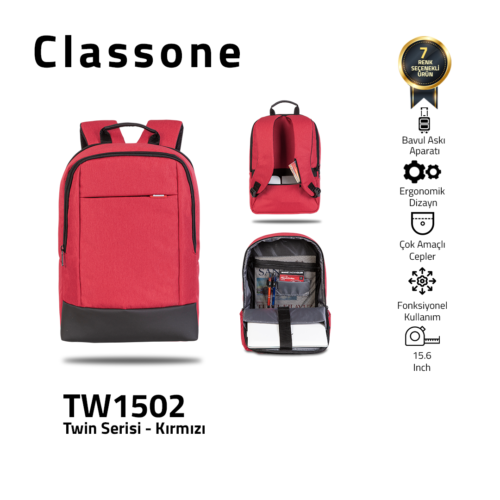 Classone TW1502 Zwillingsfarbe 15,6 Zoll Laptoptasche - Rot