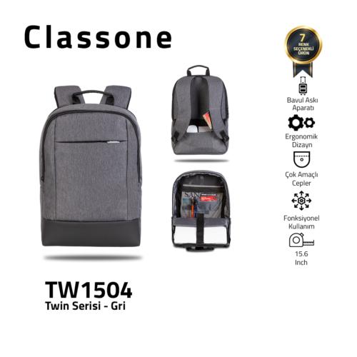 Classone TW1504 Zwillingsfarbe 15,6 Zoll Laptoptasche - Grau