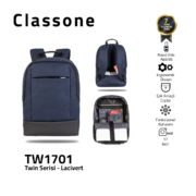 Classone TW1701 Zwillingsfarbe 17 Zoll Laptoptasche - Blau