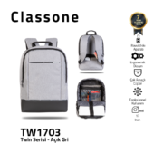 Classone TW1703 Zwillingsfarbe 17 Zoll Laptoptasche - Hellgrau