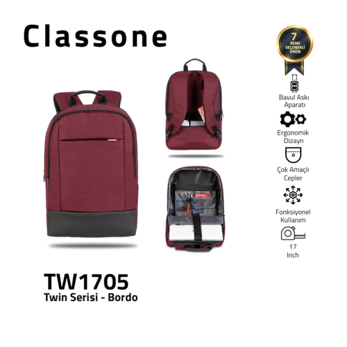 Classone TW1705 Twin Color 17 inch Laptop Bag - Claret Red