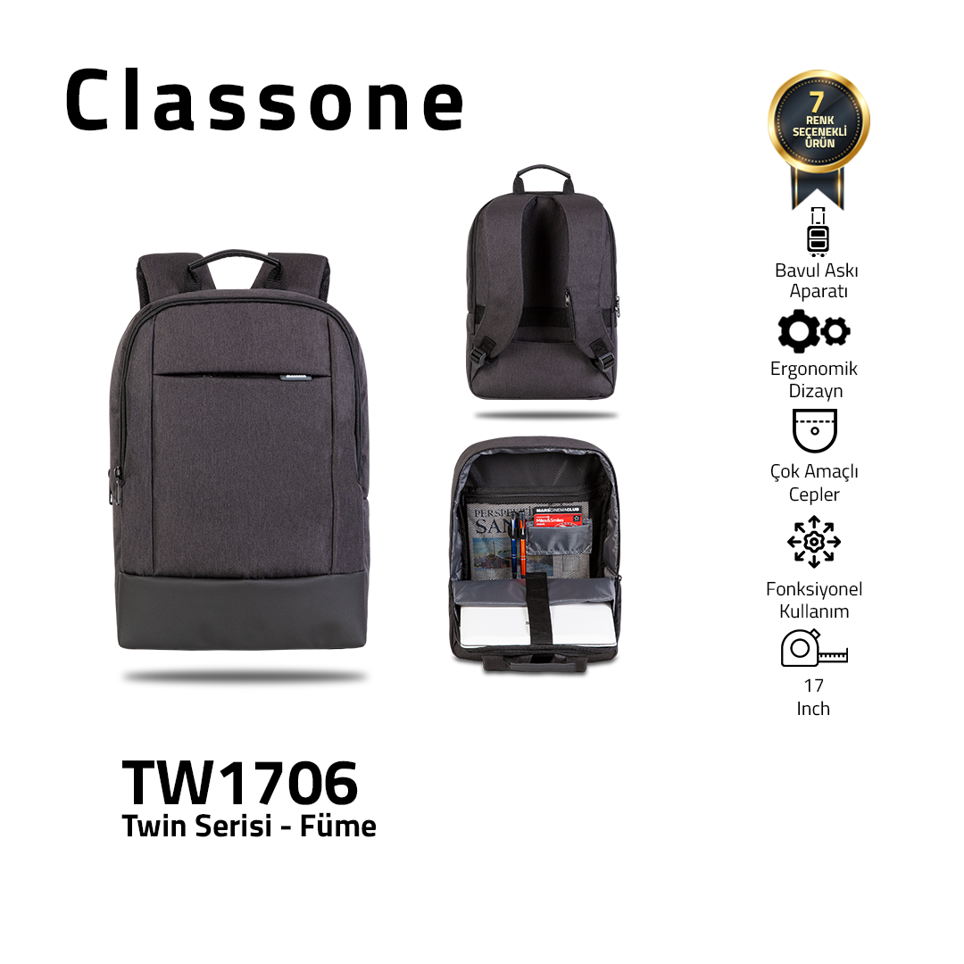 Classone TW1706 Twin Color 17 inch Laptop Bag - Smoked
