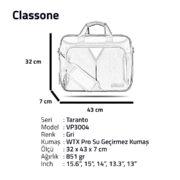 Classone Taranto Serisi 15.6 inch Su Geçirmez Kumaş Laptop El Çantası -Gri
