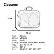 Classone Taranto Serisi 15.6 inch Su Geçirmez Kumaş Laptop El Çantası - Bordo