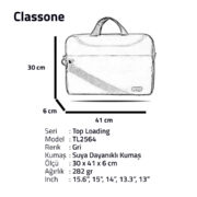 Classone TL2564 Top Loading Large Serisi 15,6 inch Notebook Çantası Gri