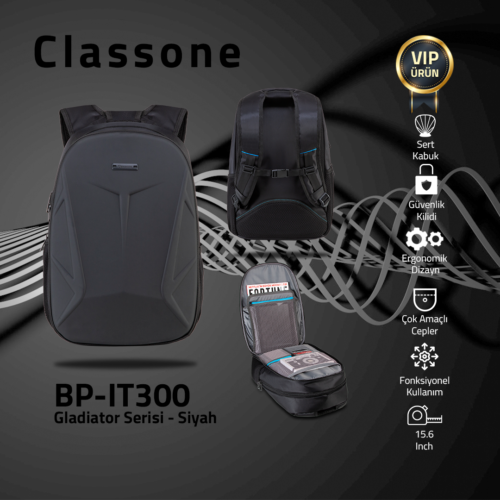 "Classone BP-IT300 Gladiator Serisi Sırt Çantası 15.6"" Uyumlu - Siyah"