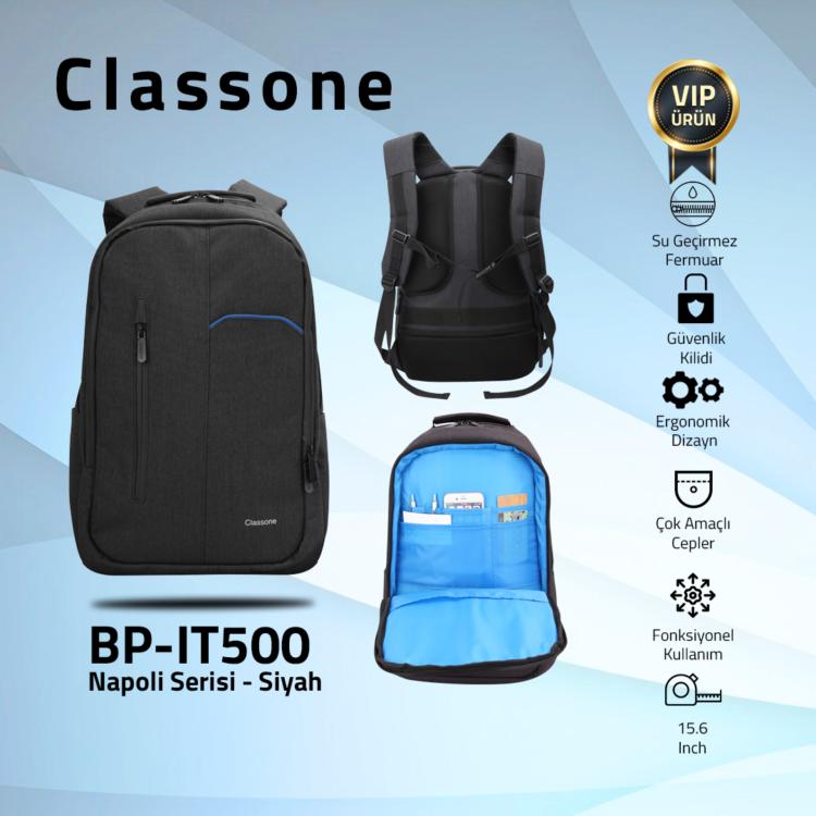 """Classone BP-IT500  Napoli Serisi Sırt Çantası 15.6"""" Uyumlu - Siyah"""