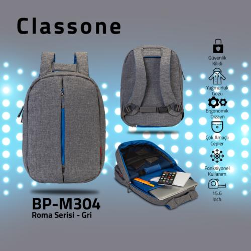 Classone BP-M304 Roma Medium Serisi 13-14 inch Sırt Çantası - Gri