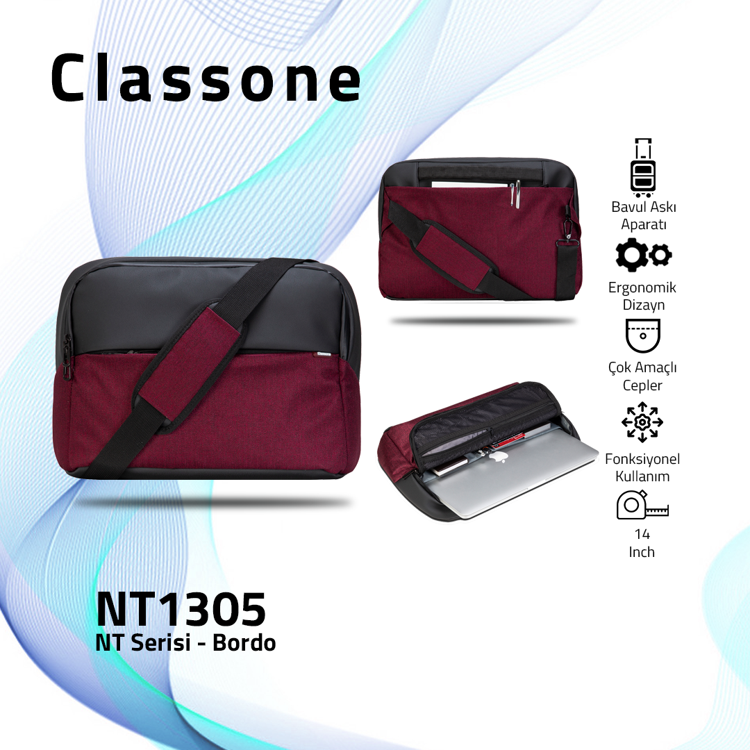 Classone NT1305 NT Serisi 14 inch Notebook Çantası / Bordo