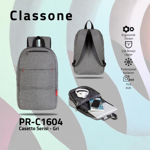 Classone PR-C1604  Casetto Serisi 15.6 Notebook Sırt Çantası-Gri