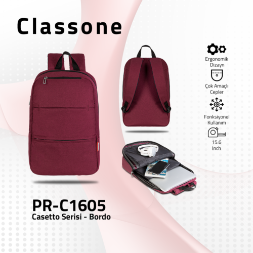 Classone PR-C1605 Casetto Serisi 15.6 Notebook Sırt Çantası-Bordo