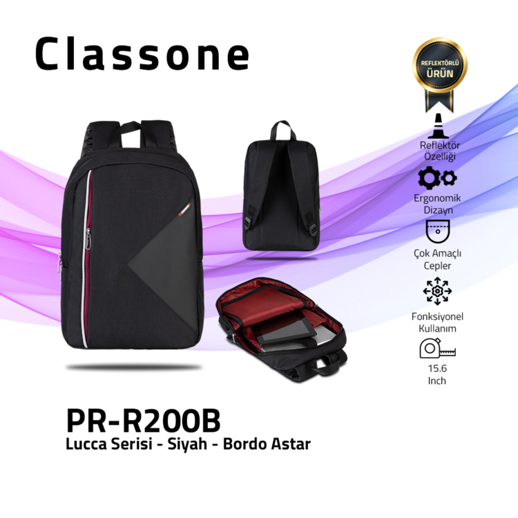 Classone PR-R200B Lucca Serisi 15,6 inç Laptop Notebook Sırt Çantası – Bordo Astar