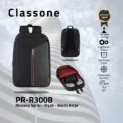 Classone Modena Serisi PR-R300B 15.6 Sırt Notebook Çantası-Siyah-Bordo Astar