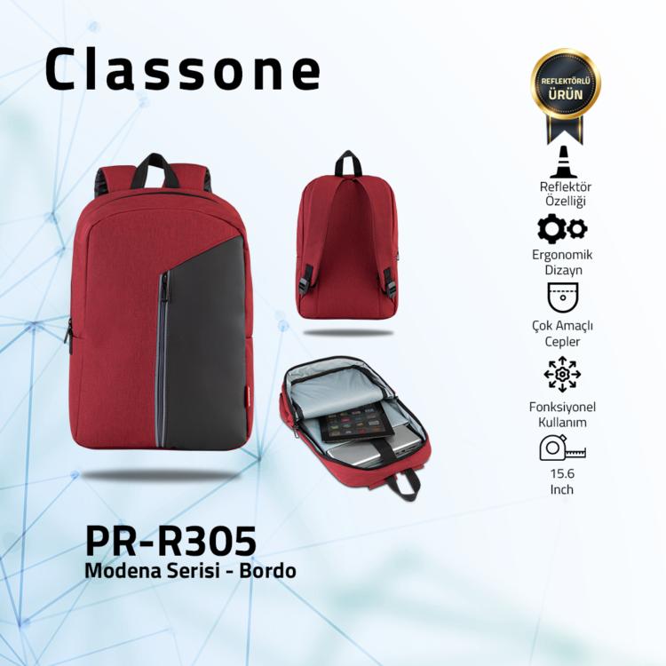 Classone Modena Serisi PR-R305 15.6 Notebook Sırt Çantası-Bordo