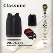 Classone Genoa Serisi PR-R400B 15.6 Sırt Notebook Çantası-Siyah-Bordo Astar